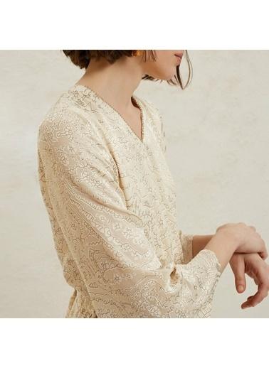 Yargıcı Kadın V Yaka Uzun Elbise 9YKEL7121X Bej